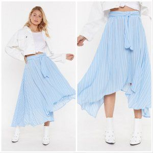 Nasty Gal linen stripe asymmetric midi skirt